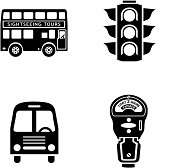 Vector icons with a traffic theme.