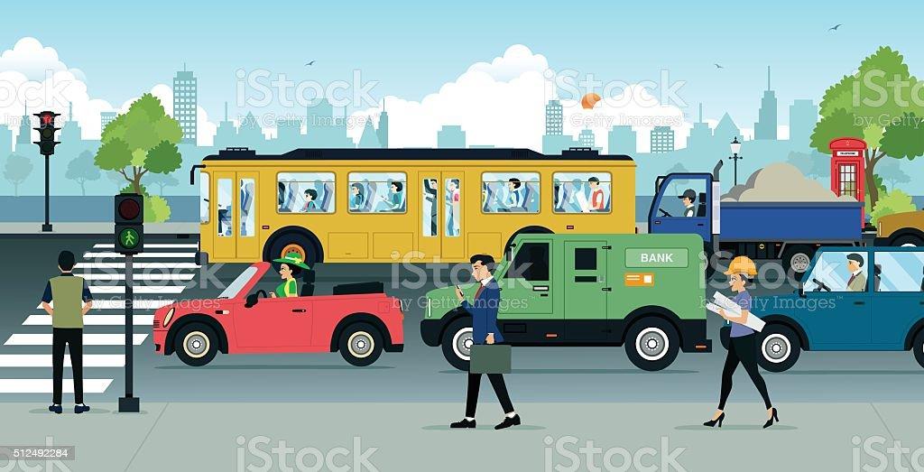 City Traffic vector art illustration