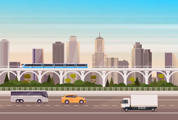 City transport car, bus, train concept. Vector flat cartoon graphic design illustration vector art illustration