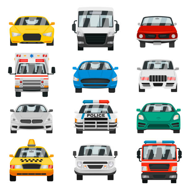 City transport front view vector art illustration
