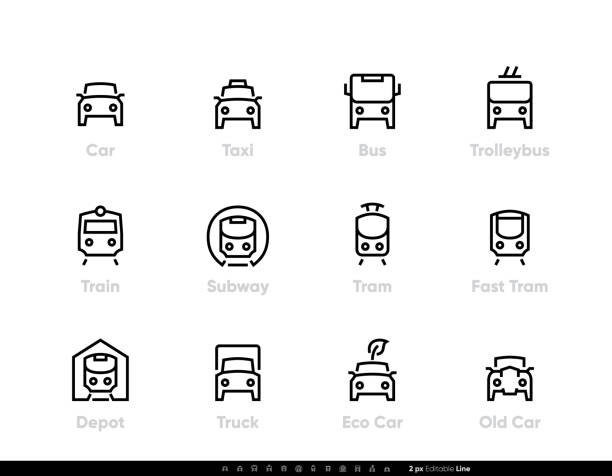 City Transport line vector icons. Car, Bus, Trolleybus, Subway, Tram and Eco Car. Editable outline set vector art illustration