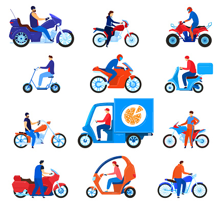 City transport motorbikes vector illustration set, cartoon flat driver characters on bikes, riders driving motorcycle, scooter