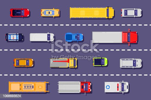 City transport on the road, top view illustration. Vector flat vehicle icons on asphalt background.