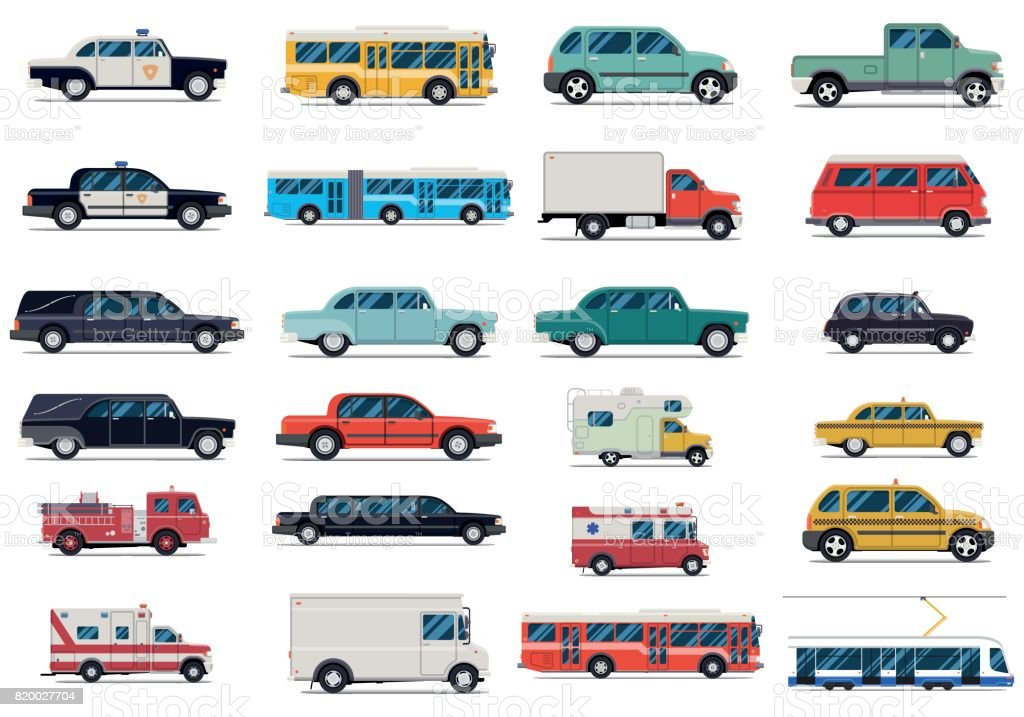 City transport set. Flat design vector illustration isolated on white background vector art illustration