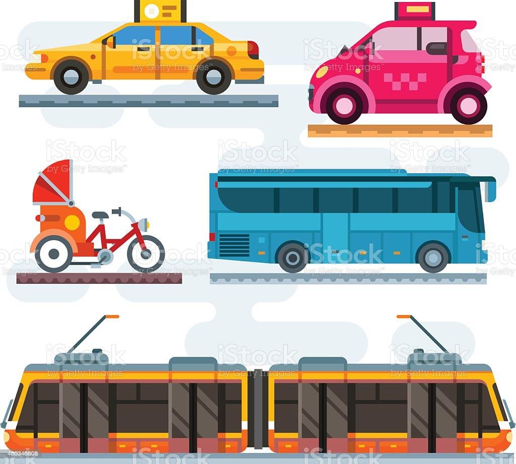 City transport set vector art illustration