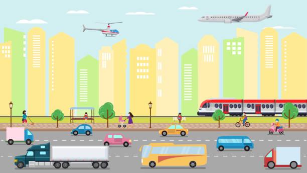 City transportation concept vector illustration. Urban road stre vector art illustration