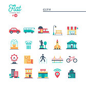 City, transportation, culture, shopping and more, flat icons set, vector illustration