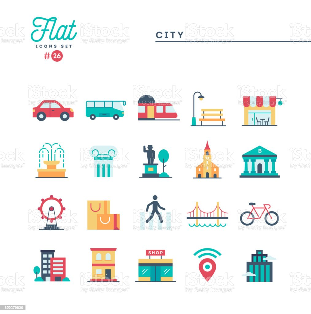 City, transportation, culture, shopping and more, flat icons set vector art illustration