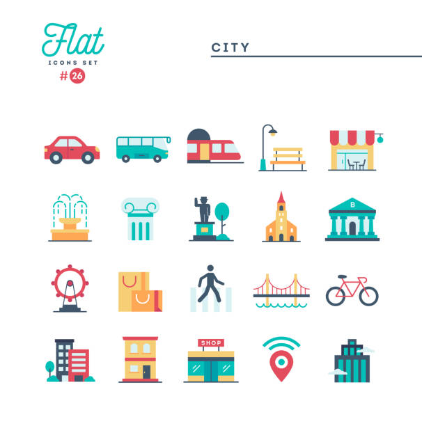 City, transportation, culture, shopping and more, flat icons set City, transportation, culture, shopping and more, flat icons set, vector illustration train vehicle stock illustrations