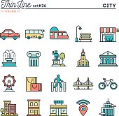 City, transportation, culture, shopping and more, thin line color icons set, vector illustration