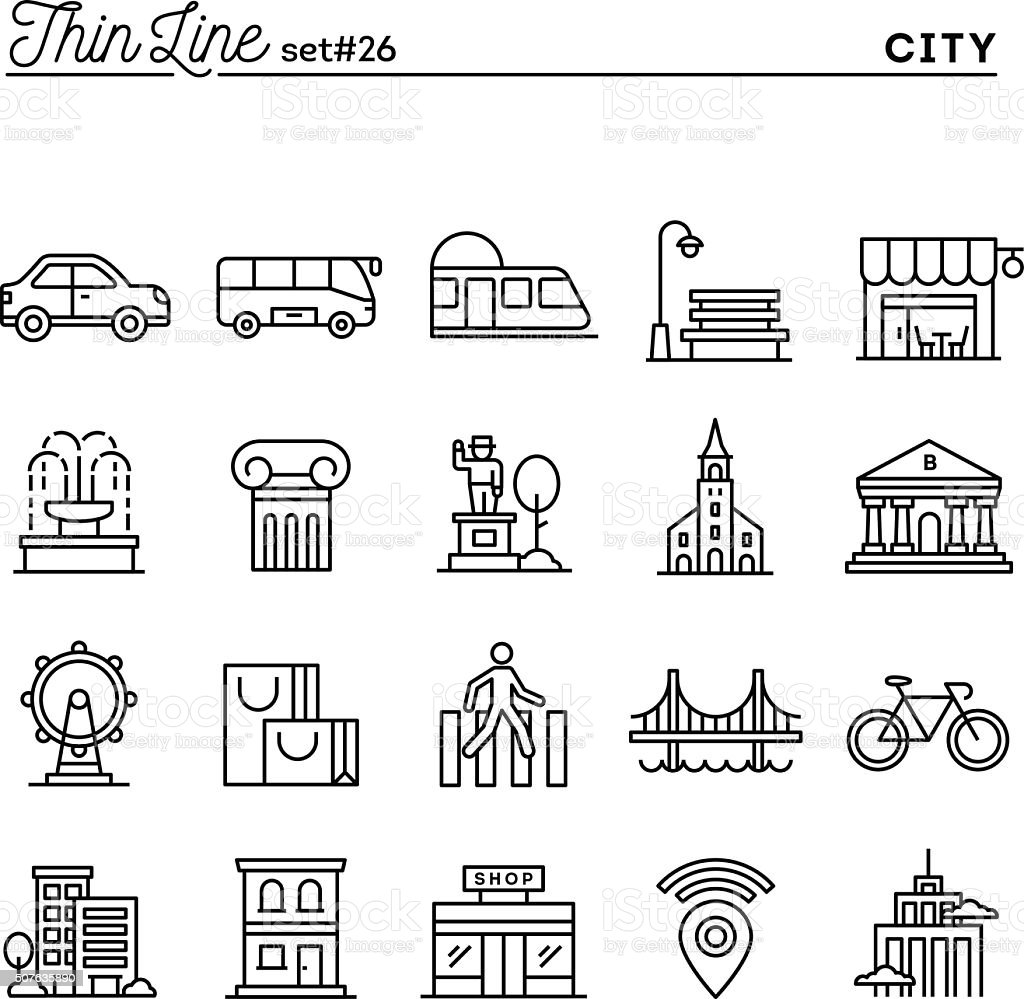City, transportation, culture, shopping and more vector art illustration