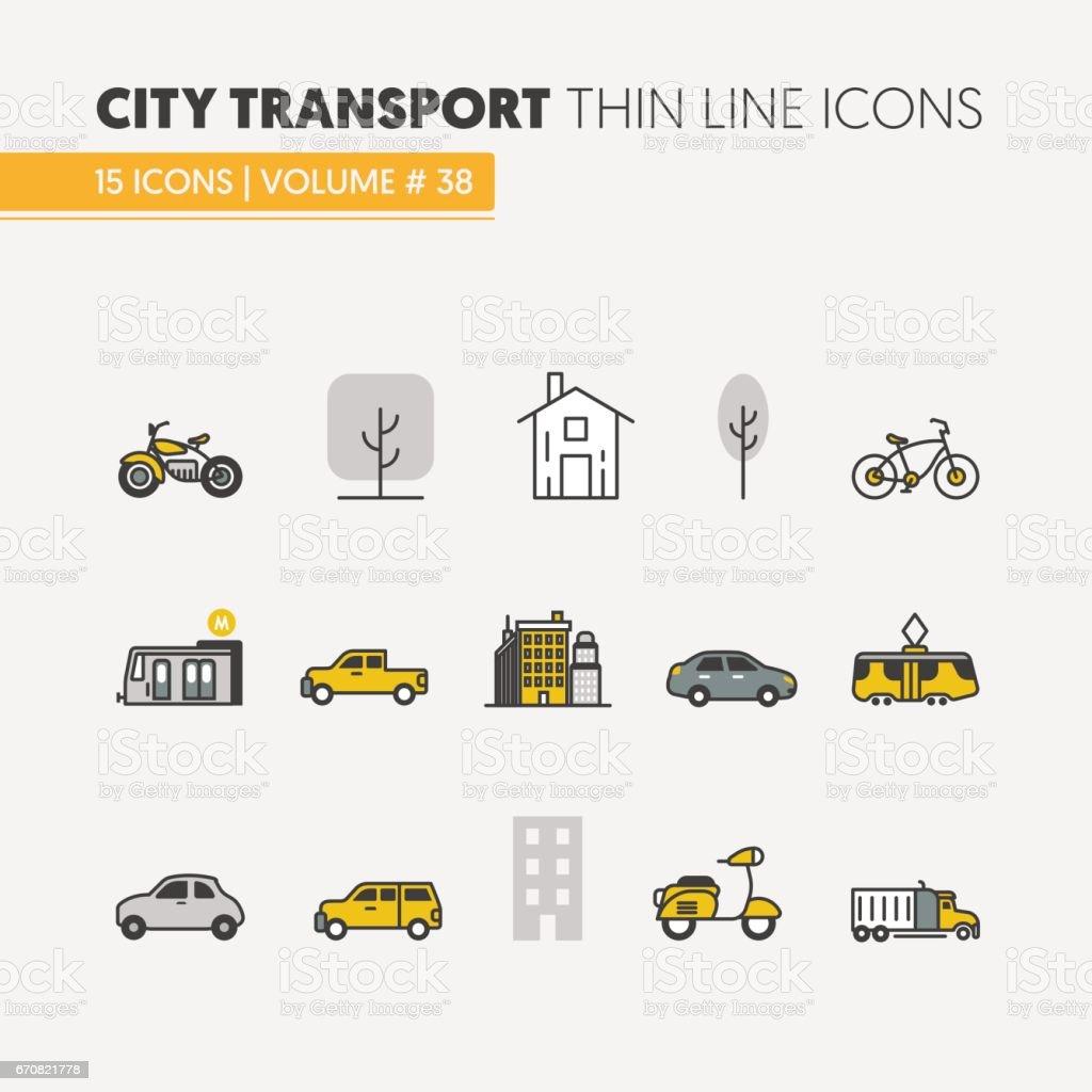 Cidade transporte Linear fina ícones - ilustração de arte em vetor