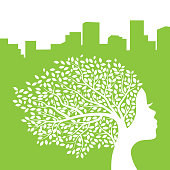 city tree with female face, vector graphic design element