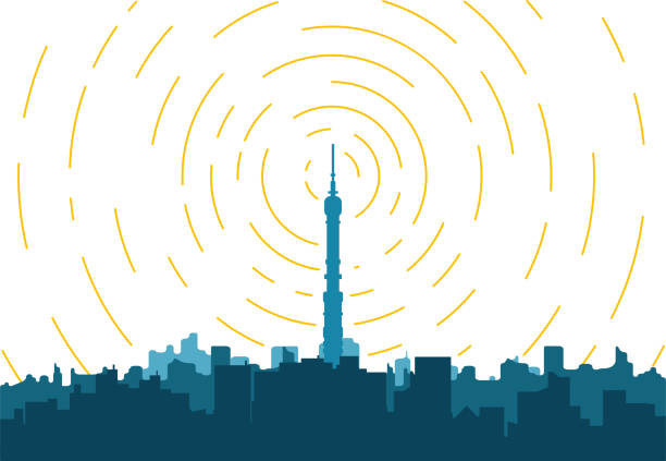 City TV tower Radio transmitter. Tower with tv signal transmitter. City with buildings and skyscrapers on background. Flat style line vector illustration. Business city center with modern houses an radio tower. communications tower stock illustrations