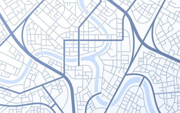 City Urban Streets Roads Abstract Map City urban roads and streets abstract map downtown district map. residential district stock illustrations