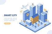 Smart city concept. Can use for web banner, infographics, hero images. Flat isometric vector illustration isolated on white background.