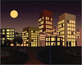 vector file of city at the night.