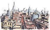 Vector illustration landscape of the city. In the style of drawing.