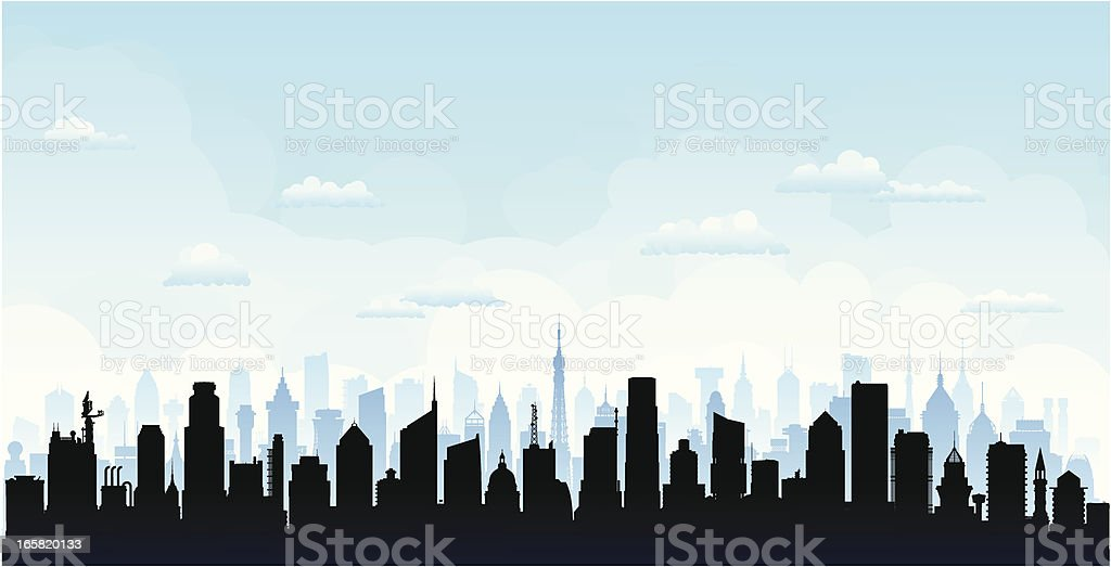 City (Buildings Are Detailed, Moveable and Complete) vector art illustration
