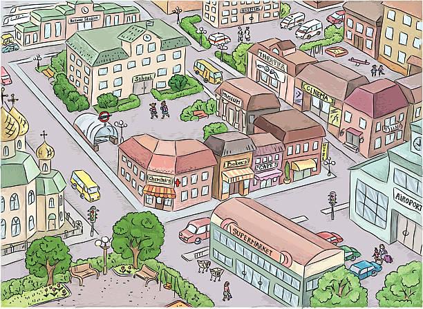 illustrazioni stock, clip art, cartoni animati e icone di tendenza di della città - subway