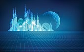 futuristic city with a planet as a background, digital building in a matrix style