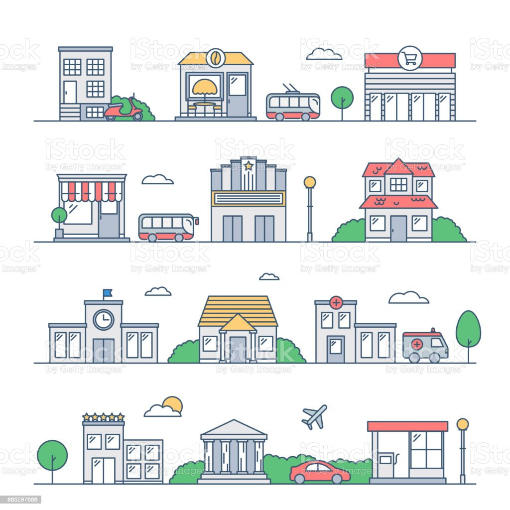 City vector illustration. Urban landscape, buildings, transport