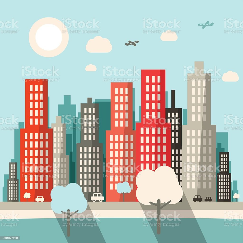 City Vector Illustration Stock Vector Art More Images Of