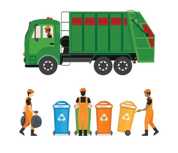 City Waste Recycling Concept With Garbage Truck And Collector Isolated On White Background Vector