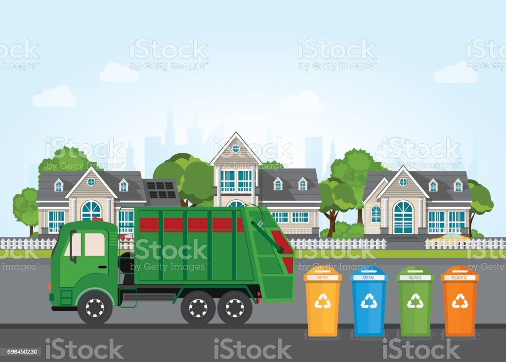 City waste recycling concept with garbage truck. vector art illustration