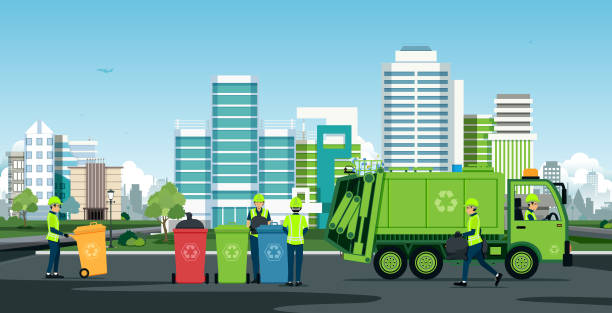 City waste trucks Workers are working with garbage trucks with backdrop buildings. collection stock illustrations