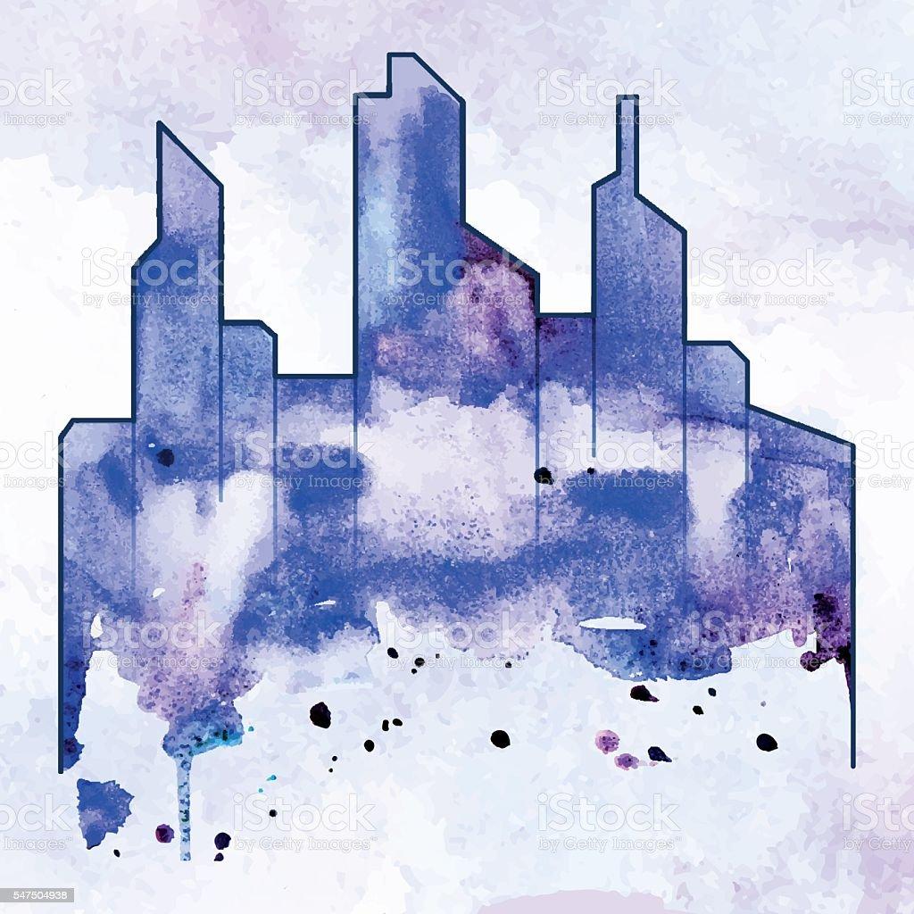 City Watercolor Smear Aqua Town Hand Painted Stock Vector Art More