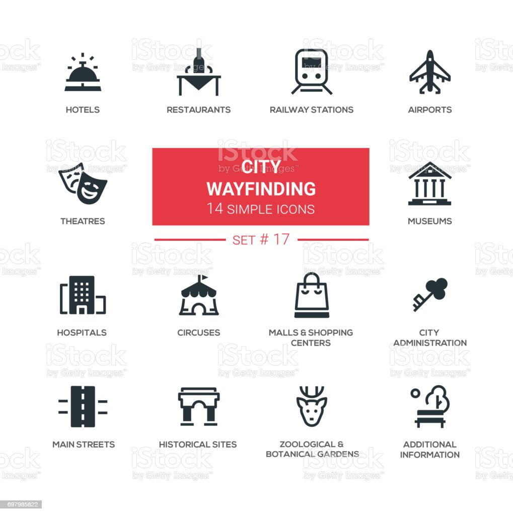 City wayfinding - modern simple icons, pictograms set vector art illustration