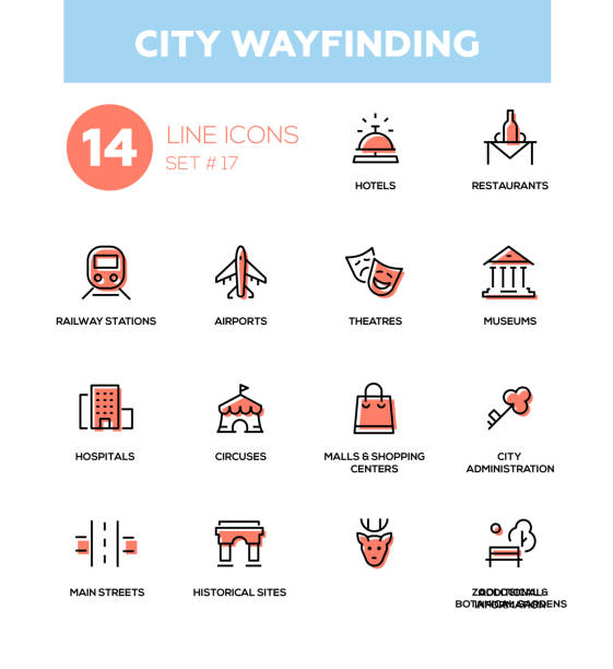 city wayfinding - modern simple icons, pictograms set - wayfinding icons stock illustrations, clip art, cartoons, & icons