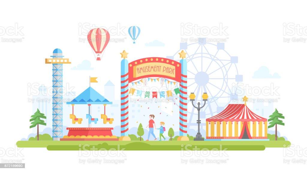 City with amusement park - modern flat design style vector illustration vector art illustration
