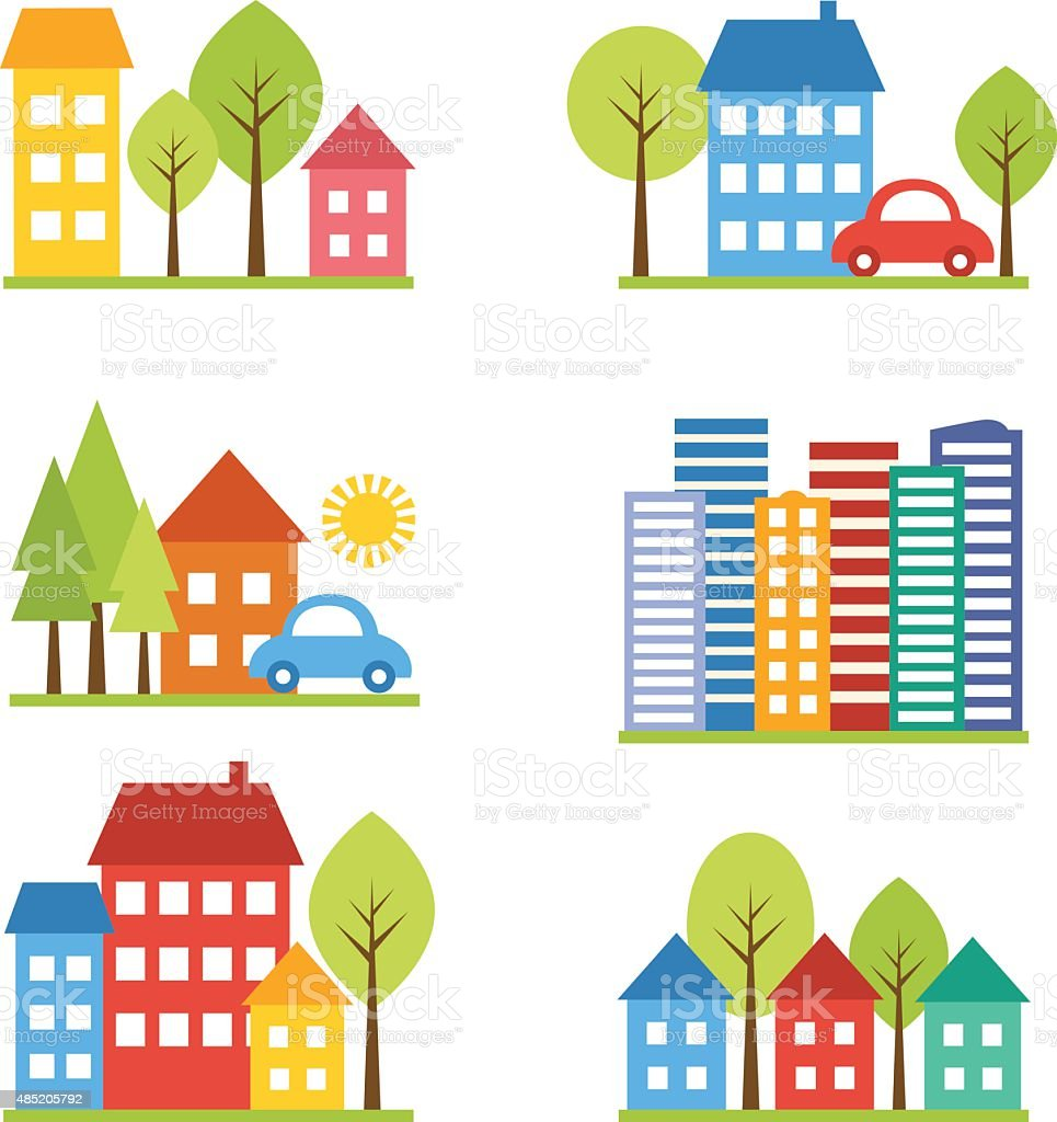 City with cars and street vector art illustration