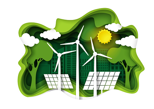 ECO city with green energy, vector paper cut illustration