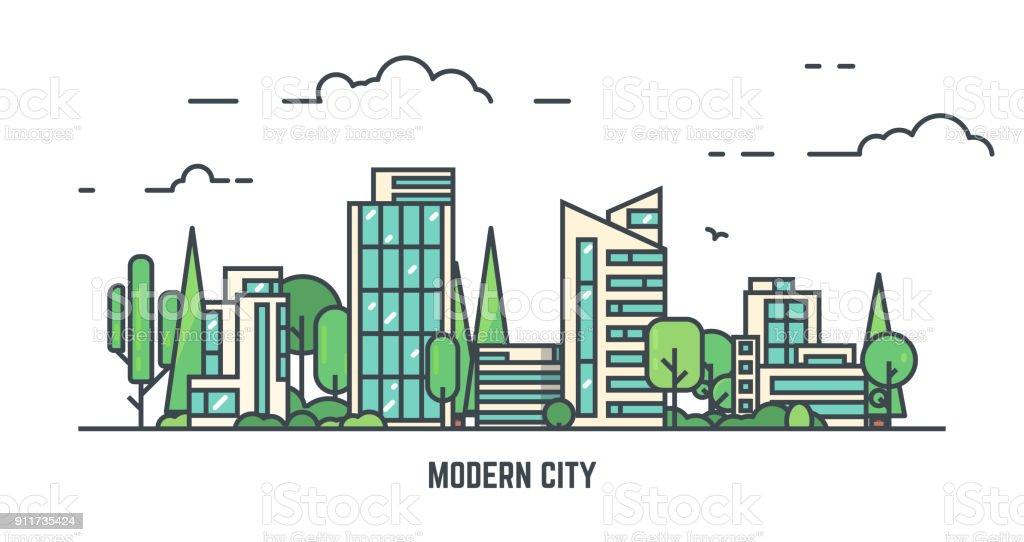 Ciudad con el Parque - ilustración de arte vectorial