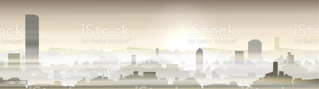 City with pollution problem, smog