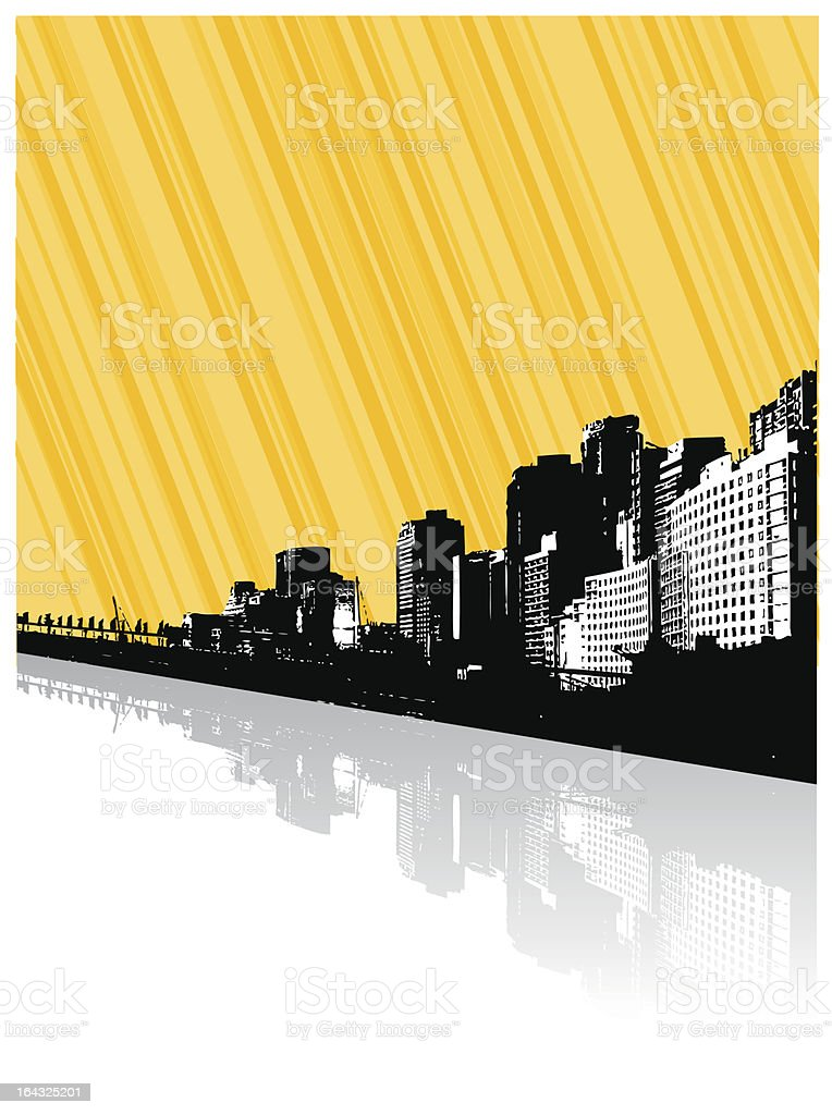 City with reflection and lines. Vector royalty-free stock vector art