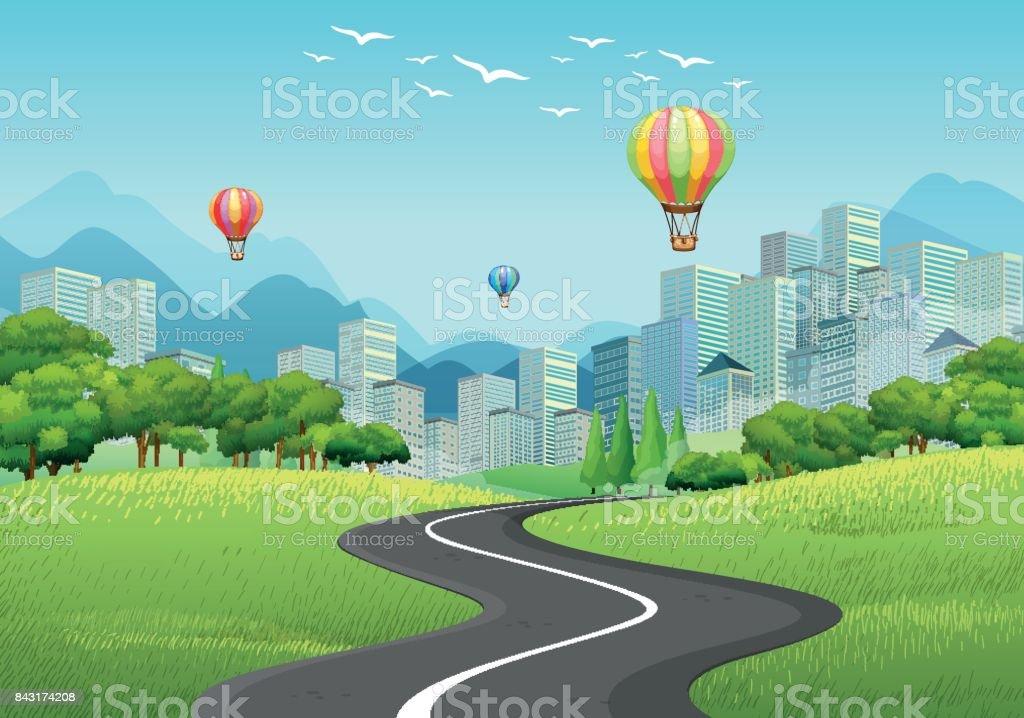Stadt mit Hochhäusern und Luftballons – Vektorgrafik
