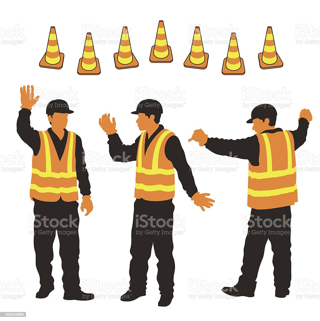 City Workers & Security Cones royalty-free stock vector art