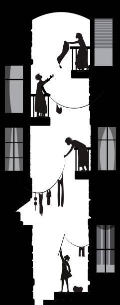 bildbanksillustrationer, clip art samt tecknat material och ikoner med stadsliv gården visa, kvinnor grannar samtalen, morgon dialoger på balkonger, svartvita minnen - gränd