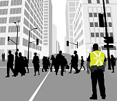 Police on duty on a busy downtown street