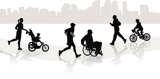cityfolks - wheelchair sports stock illustrations, clip art, cartoons, & icons