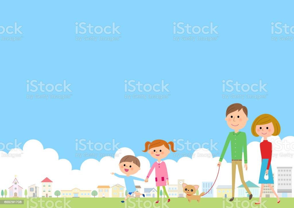 Cityscape and children vector art illustration