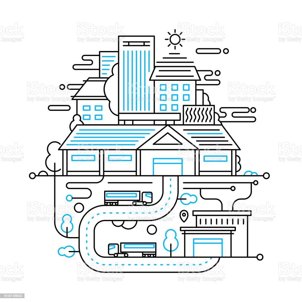 Cityscape and city life - line design composition vector art illustration