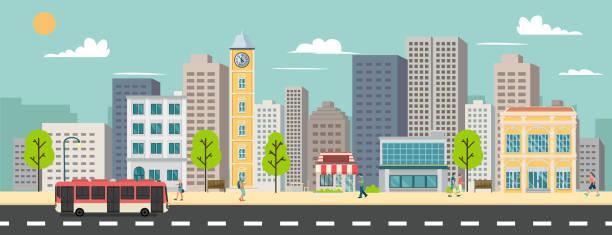 ilustrações de stock, clip art, desenhos animados e ícones de cityscape and company buildings , minibus and van on street vector illustration.business buildings and public bus stop in urban.smart city with sky background - smart city