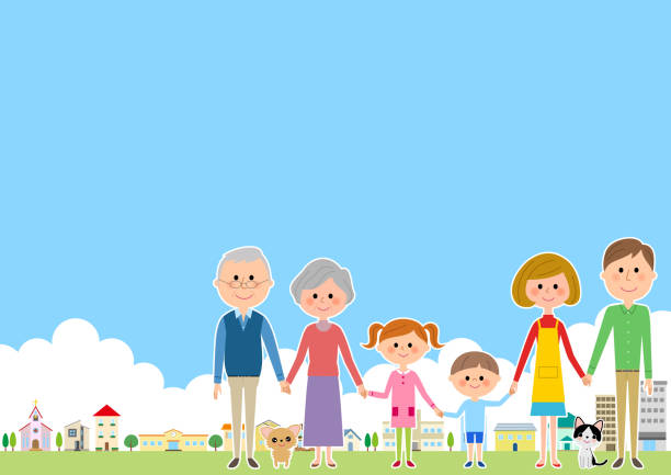 Cityscape and family vector art illustration