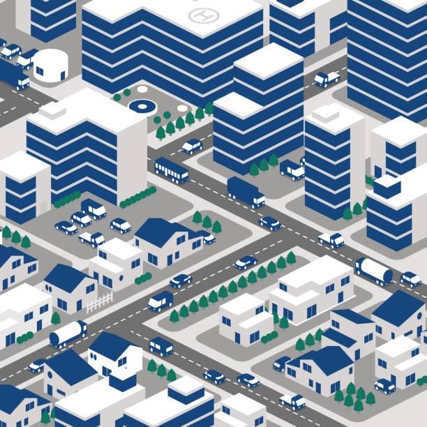 街並みと交通 - 町点のイラスト素材/クリップアート素材/マンガ素材/アイコン素材