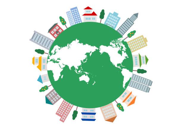 ilustrações de stock, clip art, desenhos animados e ícones de cityscape and world map. vector illustration. logo, icon. - circular economy